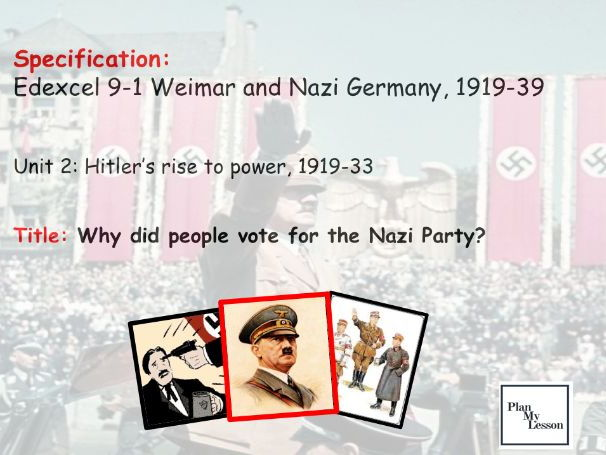 Edexcel 9-1 Weimar & Nazi Germany: L19 Why did people vote for the Nazi Party?