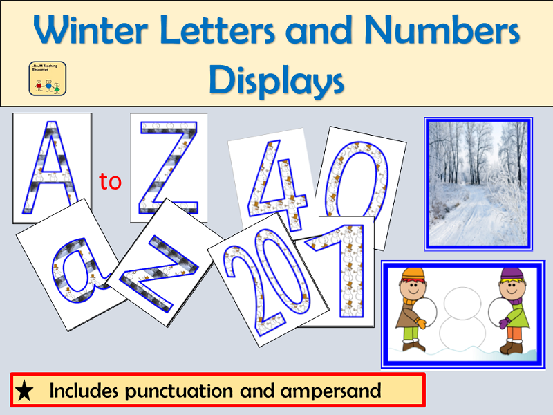Alphabet and Numbers Display: Winter Season inc , Punctuation symbols and Winter Photos