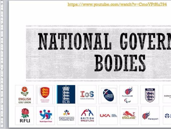 RO51 Cambridge Nationals Sports Studies-Lesson 5 -Role of National Governing bodies  + Learning mat