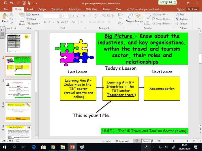Travel and Tourism BTEC first level 2 - UNIT 1 - lesson 12 - Passenger Transport