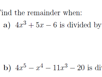 The remainder theorem worksheet (with solutions)