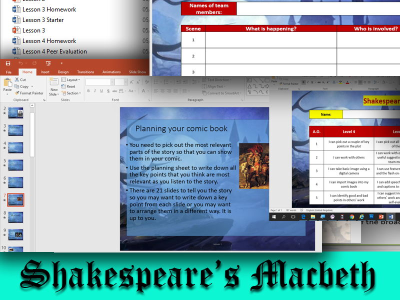 Learn Shakespeare's Macbeth by Turning Key Scenes Into A Comic Strip Over 4 Fun And engaging Lessons