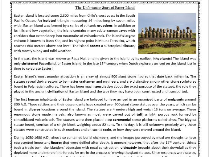 The Unfortunate Story of Easter Island -  Reading Comprehension Worksheet