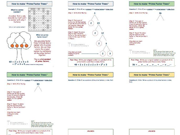 Prime Factors Worksheet - Step by step guide to Decomposition & Tree Creation