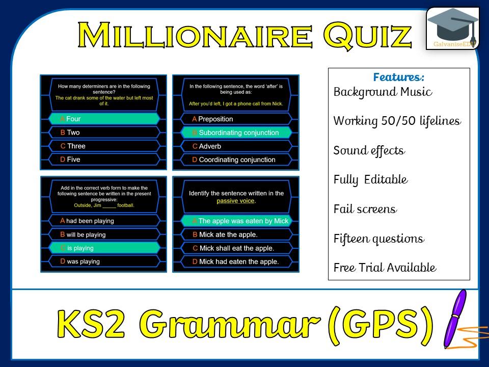 Millionaire Quiz! (KS2 Grammar GPS / SPAG Edition)
