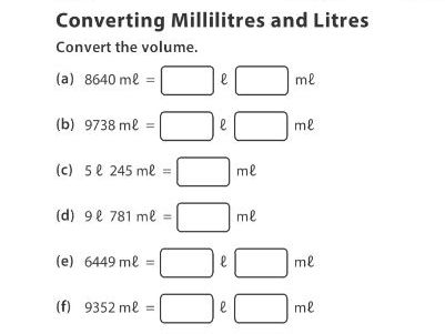Converting Millilitres and Litres