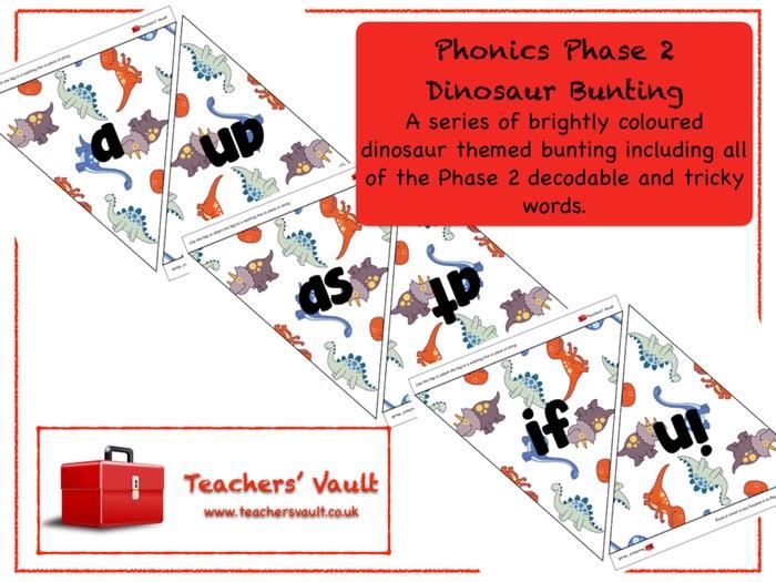 Phonics Phase 2 Dinosaur Bunting