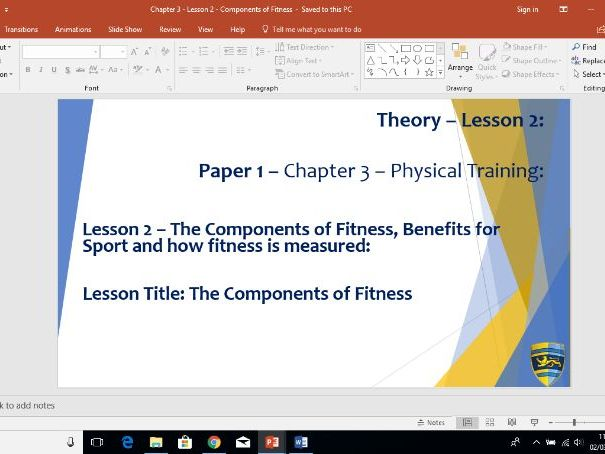 AQA GCSE PE (New Specification) Chapter 3: Physical Training - Components of Fitness - Lesson 2