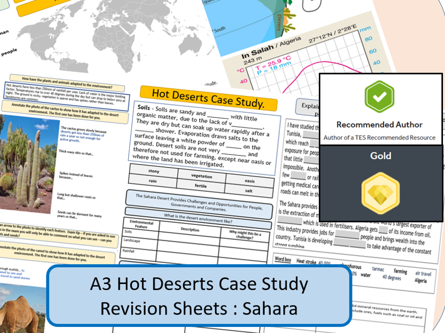 AQA GCSE 9-1 : Sahara, Hot Deserts, A3 Double Sided Revision Sheet.