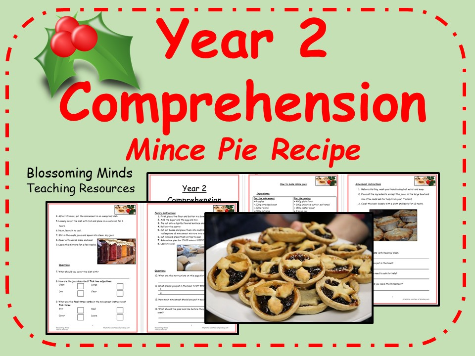 Year 2 Christmas comprehension - Mince pie recipe
