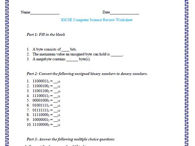 IGCSE Computer Science Binary Numbers Worksheet
