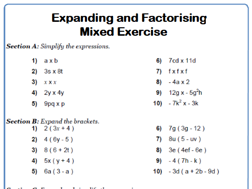 Expanding and Factorising Brackets Mixed Exercise Maths Worksheet
