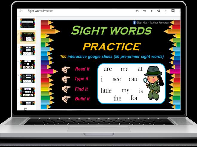 Sight Words | Activities | Digital | Read, Type, Find & Build – 100 Google Slides