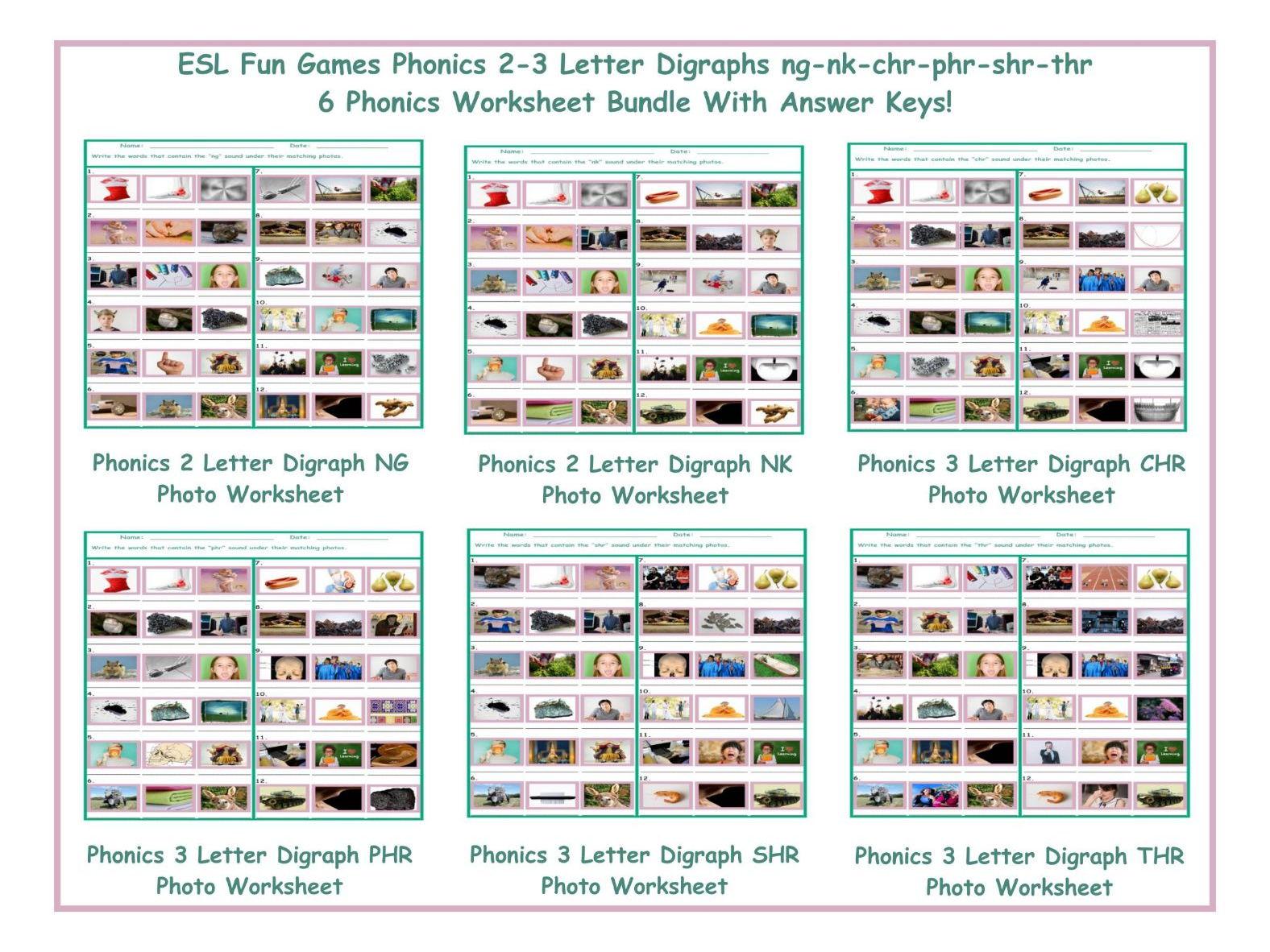 worksheet Thr Worksheets phonics 2 3 letter digraphs ng nk chr phr shr thr worksheet bundle by eslfungames teaching resources tes