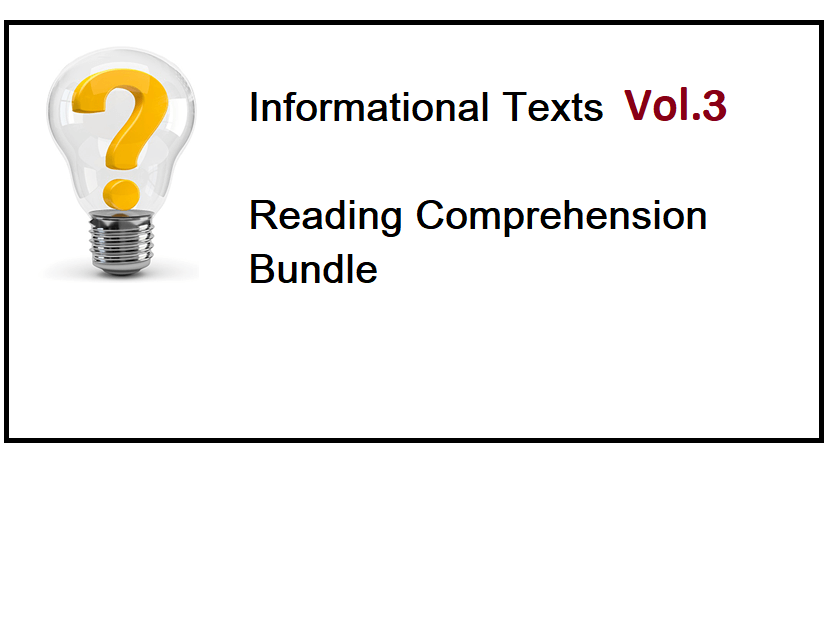 Informational Texts Vol 3 - Reading Comprehension Worksheets - Bundle (SAVE 70%)