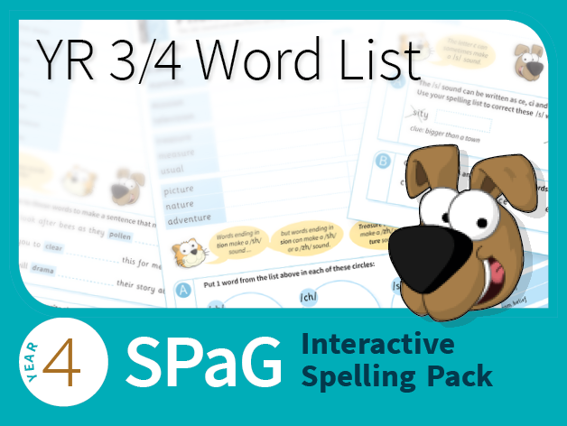 Year 4 SPaG Interactive Spelling Pack -  Yr 3/4 Word List