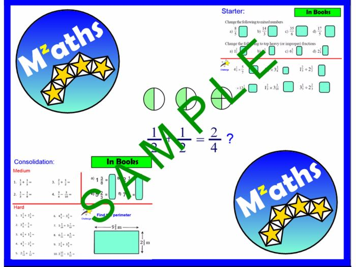 Fractions (2 Lessons) - Adding and Subtracting/Revision