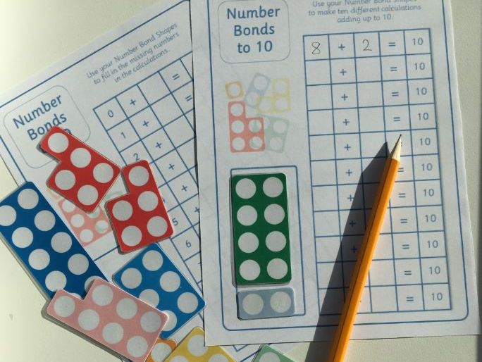 Number Bonds Shapes to 10 with Challenge worksheets