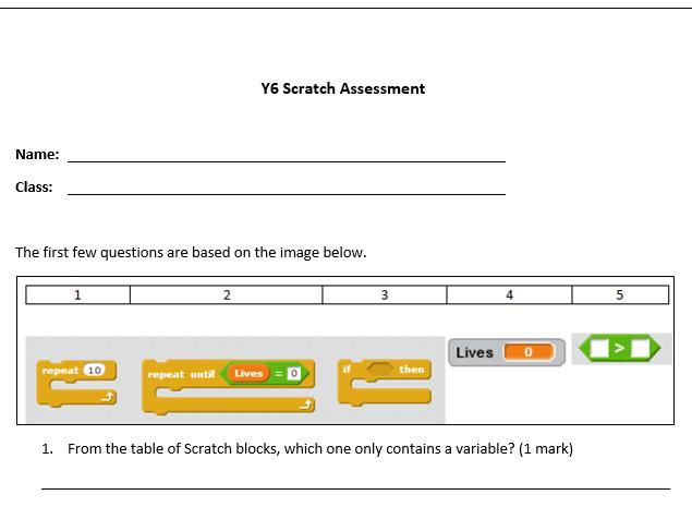 KS2 / KS3 Scratch Assessment