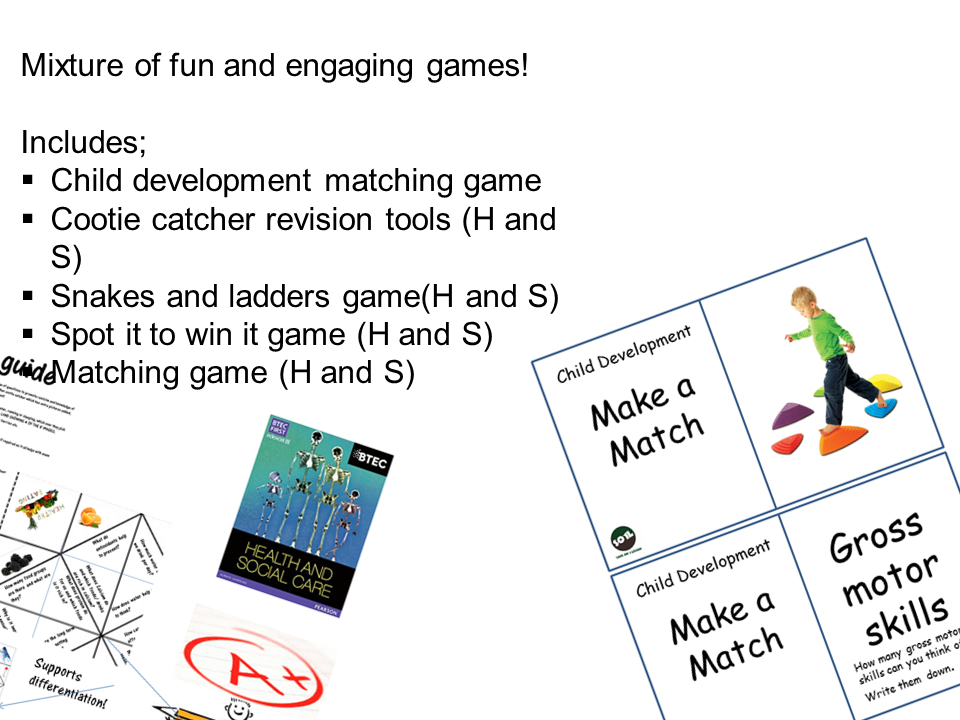Health and social care and child care games for Btec and CACHE
