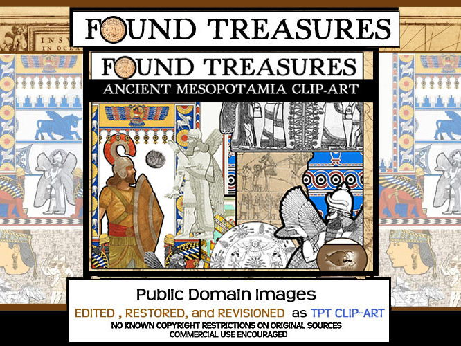 Found Treasures: Mesopotamia ClipArt-50 Pcs.! Restored Public Domain Images.