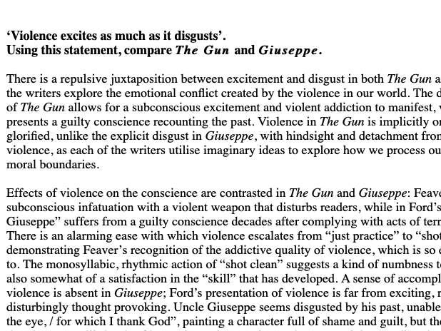 "A* 39/40 Essay for Modern Poetry A Level - Violence in ""Giuseppe"" and ""The Gun"""