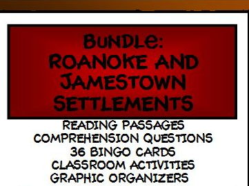 BUNDLE: ROANOKE AND JAMESTOWN SETTLEMENTS - Lesson, Reading Comprehension, and Bingo
