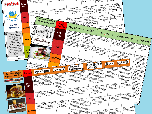 English KS3 Takeaway Homework Menus
