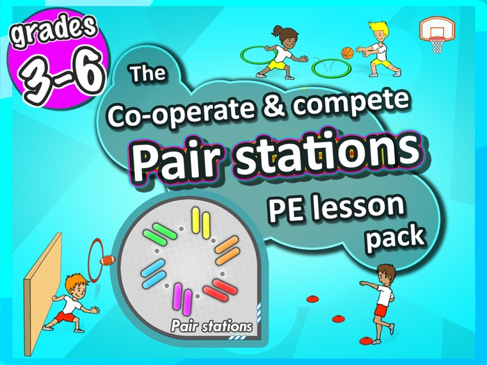 PE Skill Stations: 50 fun sport activities for pairs to play - Grades 3-6