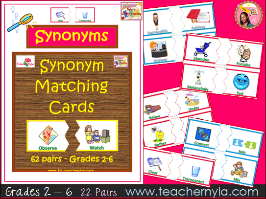 Synonym and Antonym matching cards - 11 plus and KS2 by