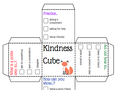 Mindfulness, Kindness Wellbeing Talking Prompt Cubes
