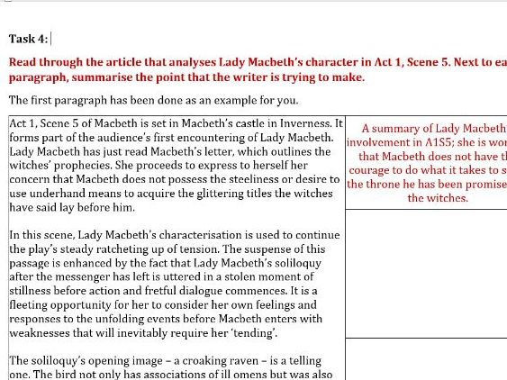 Macbeth Act 1 Remote Learning Worksheets (5 in total)