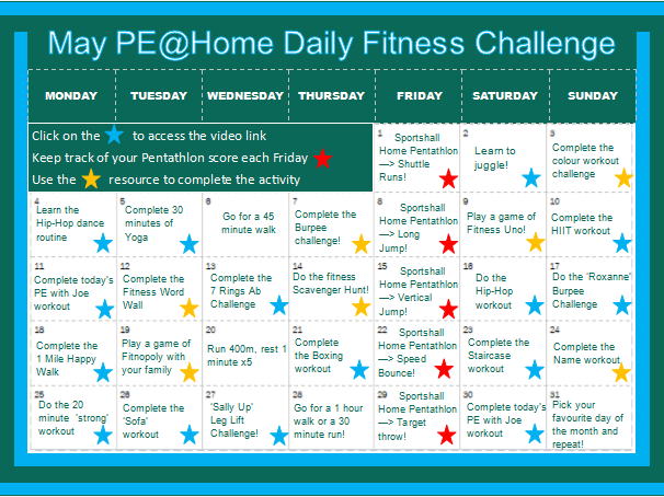 May PE @ Home Daily Fitness Challenge (Isolation PE)