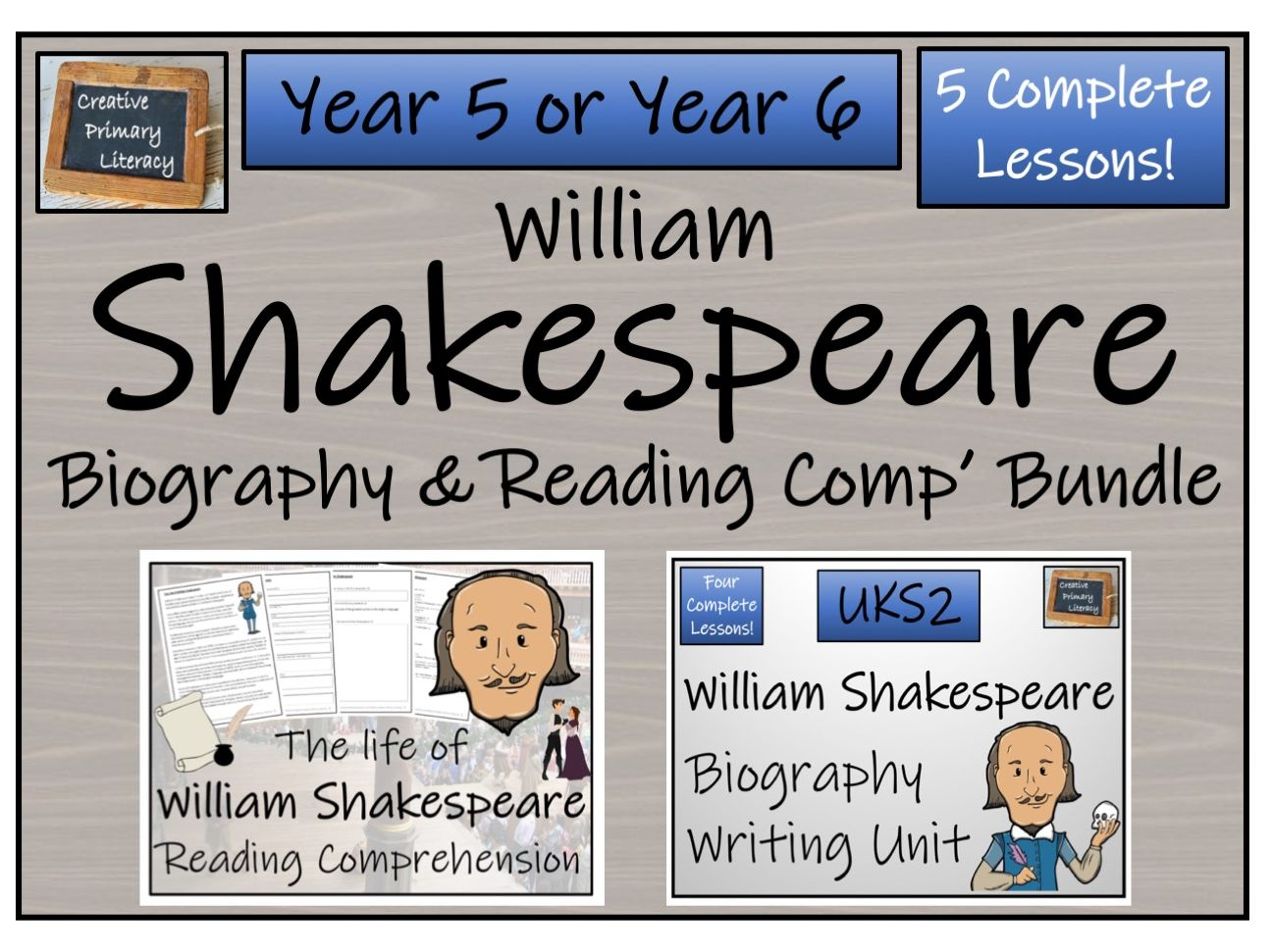 UKS2 History - William Shakespeare Reading Comprehension & Biography Bundle