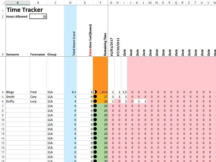 GCSE 9-1 NEA Timesheet time tracker