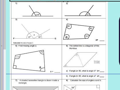 Properties of rectangles or quadrilaterals - missing lengths - angles ks2 year 5 &  6 WORKSHEET ONLY