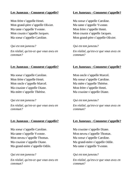 Comment s'appelle (What's the name of in French) Jumeaux Speaking activity