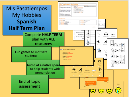 Mis Pasatiempos My Hobbies Spanish Half Term Plan