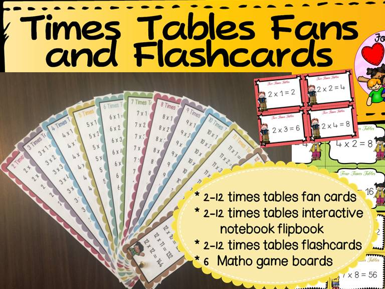 Multiplication Times Tables Fans Flashcards And Bingo By