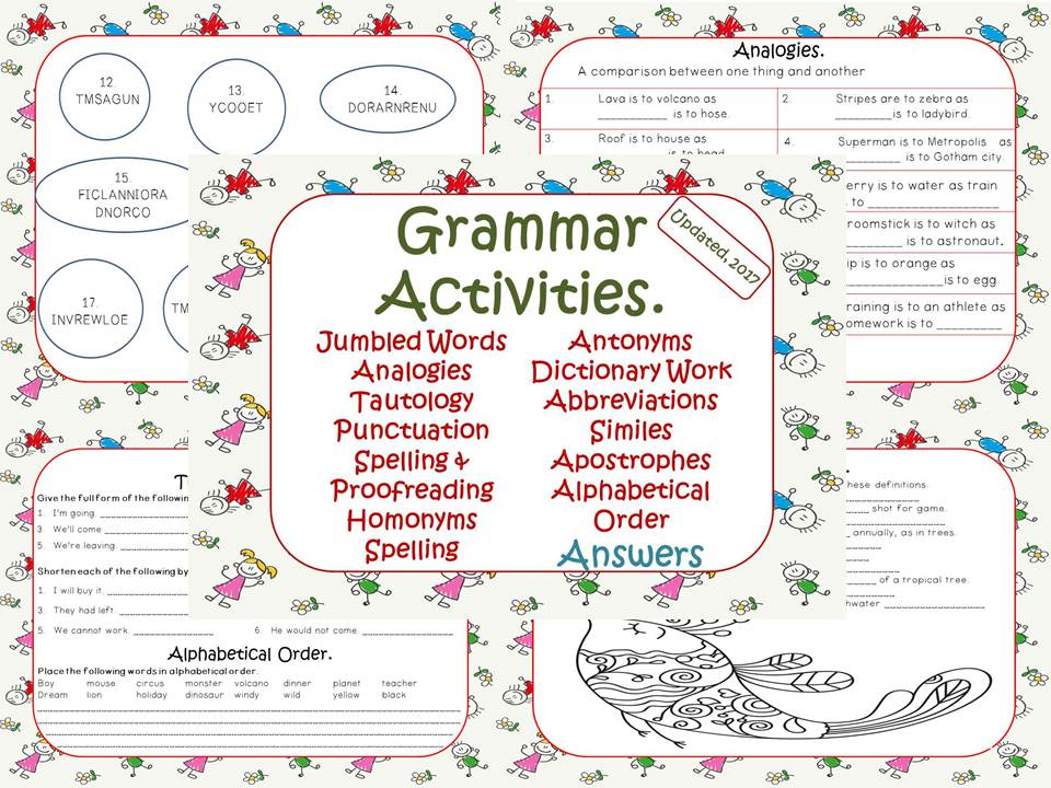 Grammar Activities, Tautology, Spelling, Alphabetical Order, Analogies, Dictionary...