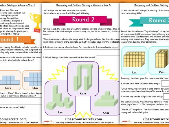Volume Consolidation Year 5 Summer Block 5 Reasoning and Problem Solving