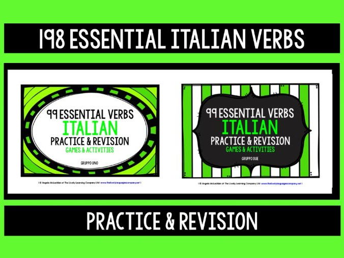 ITALIAN VERBS (1&2) - PRACTICE & REVISION - 198 VERBS