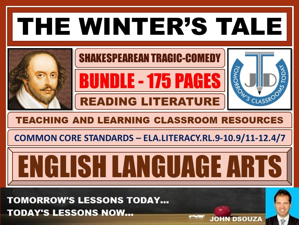 THE WINTER'S TALE - SHAKESPEAREAN TRAGIC-COMEDY - CLASSROOM RESOURCES BUNDLE