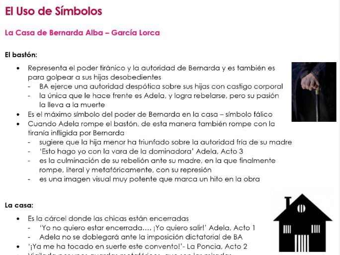 El USO DE SIMBOLOS en 'La Casa de Bernarda Alba' notes for A2 Spanish