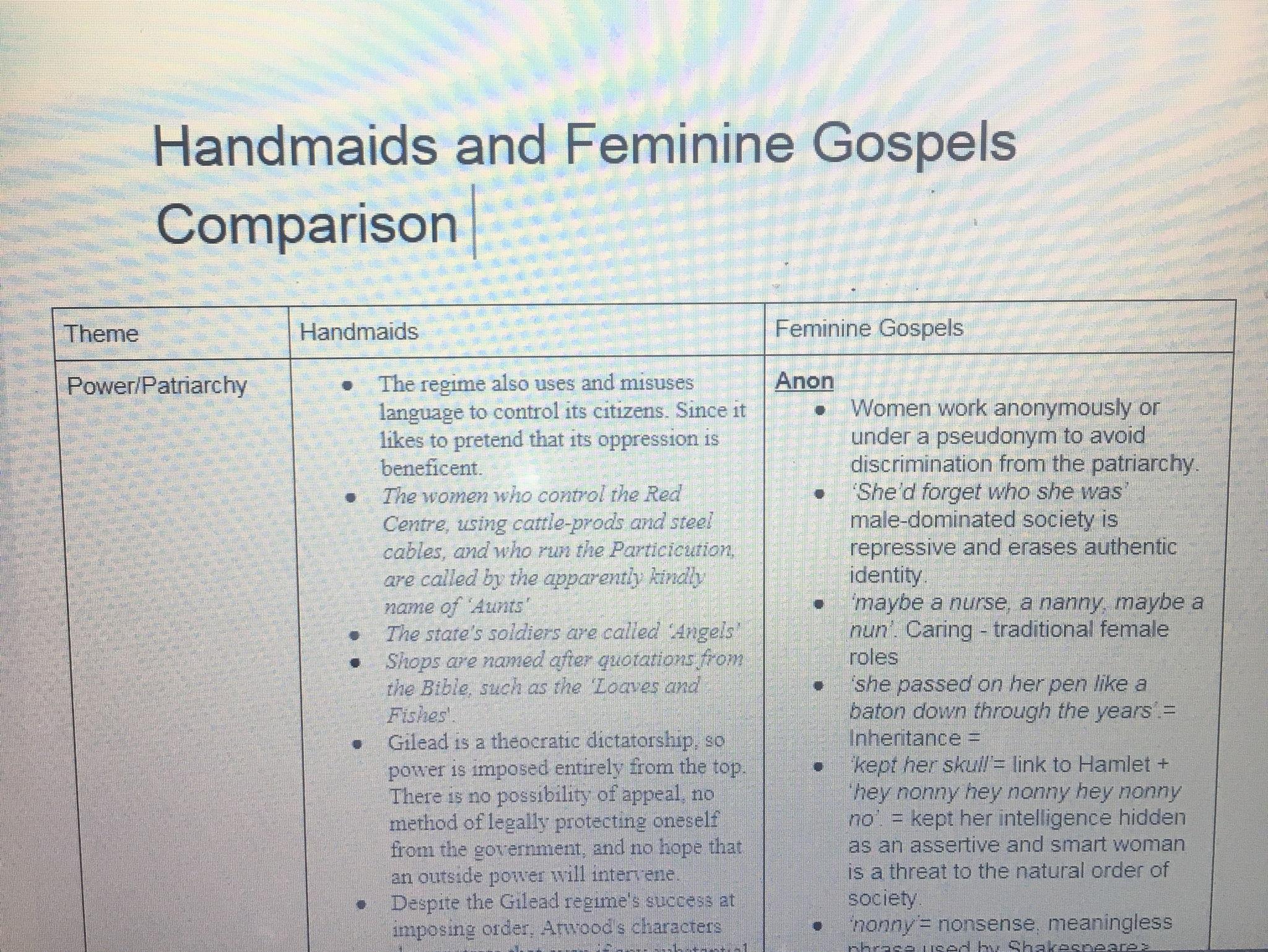 Handmaid's Tale and Feminine Gospels Comparison