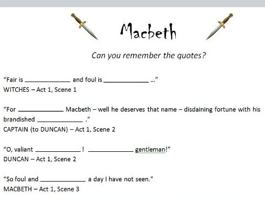 Macbeth - key quotes