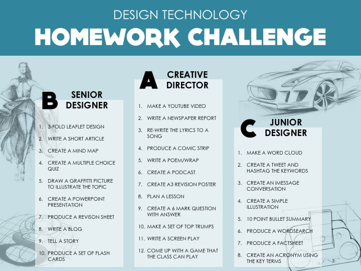 Design Technology - Homework Challenge for Differentiation