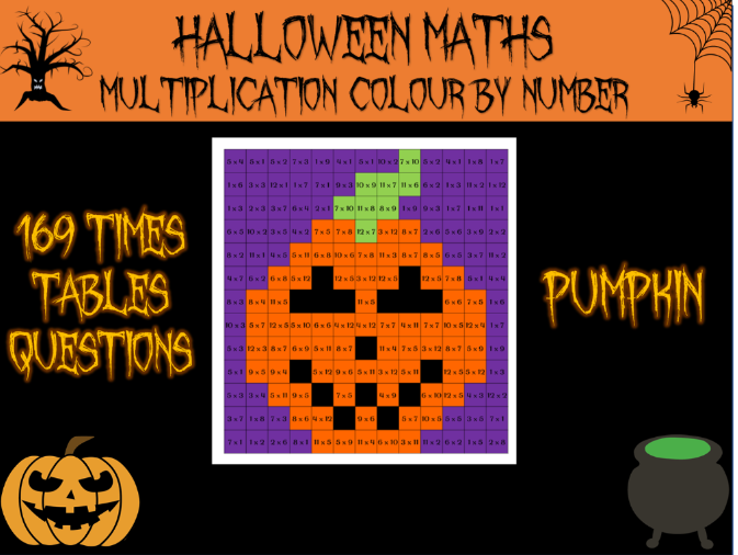 Halloween maths - Halloween multiplication colour by number
