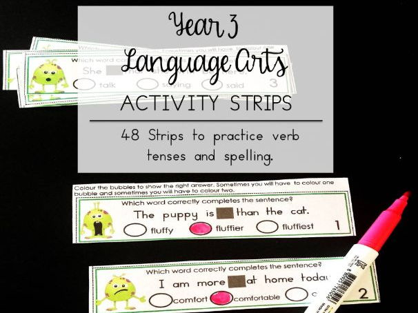 Language Arts Dry Erase Strips Year 3