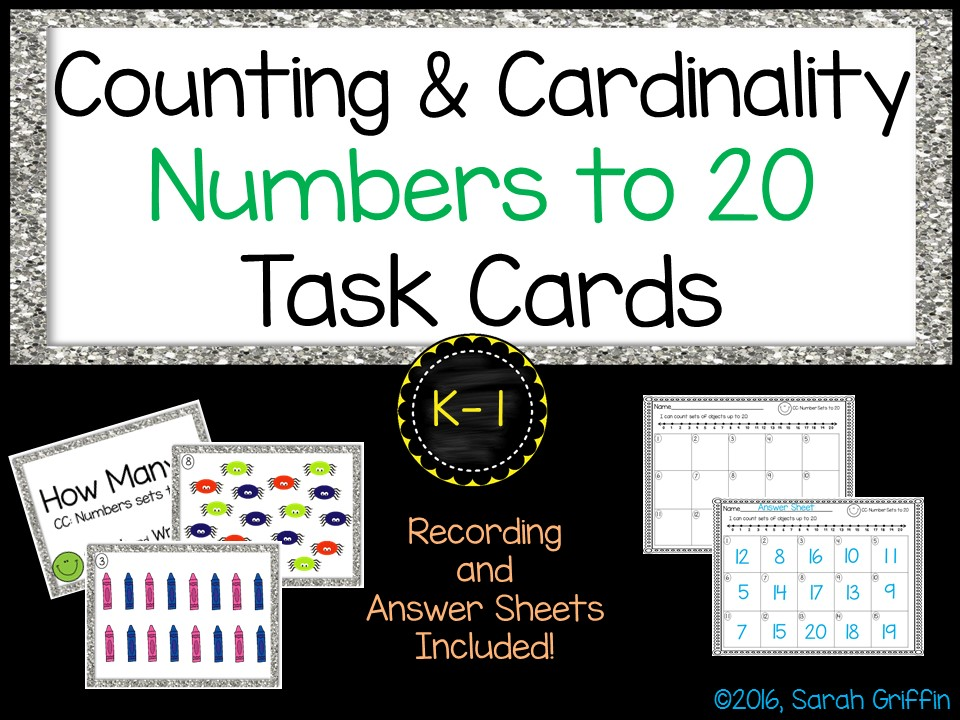 Math Task Cards - Counting to 20 - SCOOT Math Center